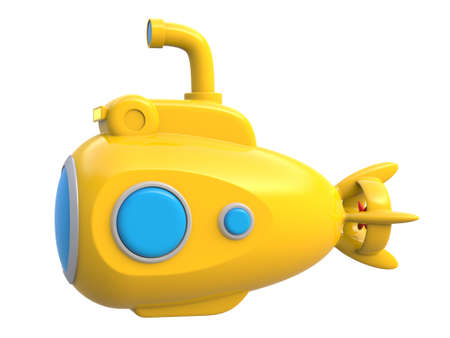 Abstract yellow toy submarine isolated on white background. 3d rendering.