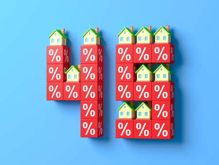 Number Forty Five With Miniature Houses And Red Percentage Blocks. 3d Illustration.