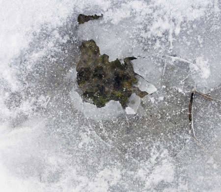 cracks in ice: Frozen ground surface texture with white snow, and ice with cracks, top view winter photo.