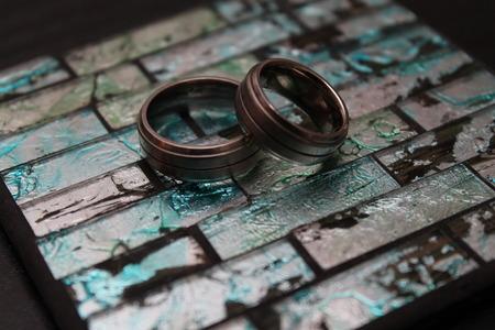 titanium: Two titanium wedding bands together
