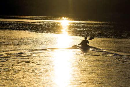 paddler: Sunset Paddler Stock Photo