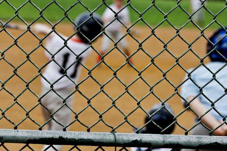 backstop: Baseball game seen through backstop