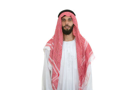 agal: modern young arabian man looking serious isolated