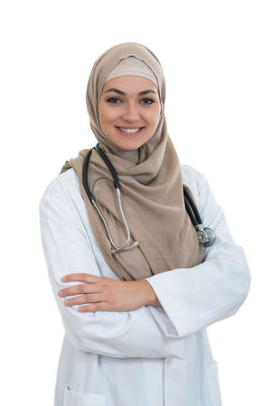 Closeup portrait of friendly, smiling confident muslim female doctor Фото со стока