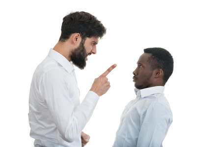 spat: Closeup portrait of two grown mad men arguing, isolated on white background. Negative emotion facial expression feelings, attitude, reaction. Conflict