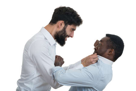 coworker: Closeup portrait of two grown mad men arguing, isolated on white background. Negative emotion facial expression feelings, attitude, reaction. Conflict