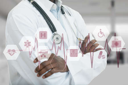 African-American Medical doctor man with medical symbols