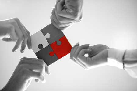 Bedrijfsmensenpuzzel Samenwerking Team Concept Stockfoto