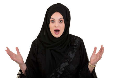 exited, surprised muslim woman with hijab or head scarf isolated on white