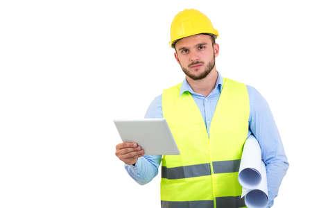 잘 생긴 엔지니어 흰색 절연 tablet pc 사용