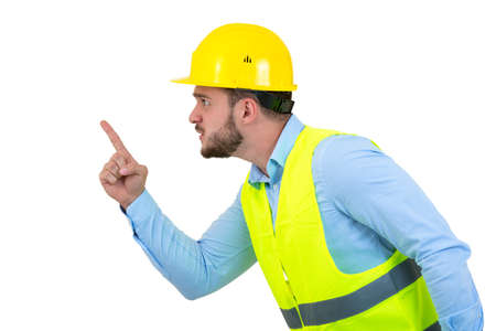 Angry builder or constructor yelling at somebody as fury concept isolated on white background with copyspace