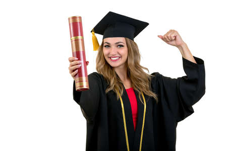 Full isolated studio picture from a young graduation woman Stock Photo