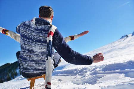 romantic winter scene, happy young couple having fun on fresh show on winter vacatio, mountain nature landscape Stock Photo