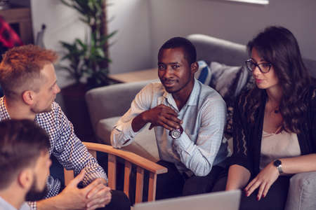 Start Up Team Of Freelancers In The Office Planning Stock Photo