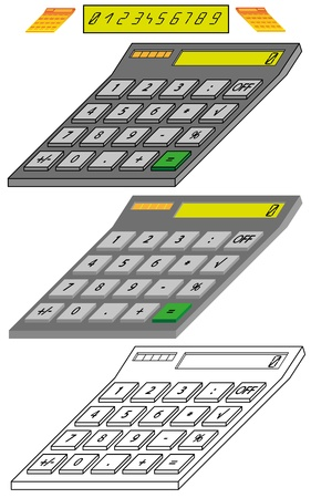 Digital Calculator Model in Isometric View Stock Vector - 14989411