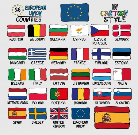 28 Flags of European Union Countries in Cartoon Style Vector
