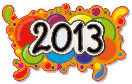 2013 Year Sign on Abstract Bubble Background