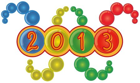 2013 Year Sign in Worm Shape Abstract Bubble Background
