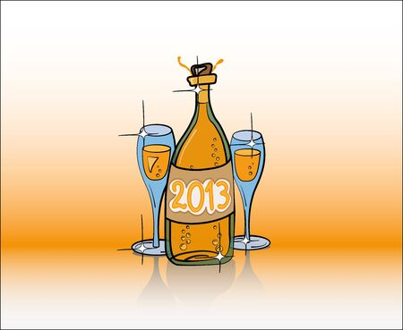 2013 Year Bottle of Champagne and Two Glasses in Gold Color Illustration