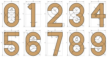 Numbers Font Technical Drawing