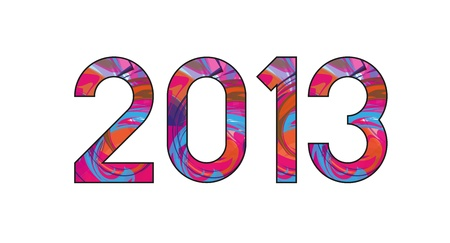 2013 Year, With Spiral Colorful fill Vector