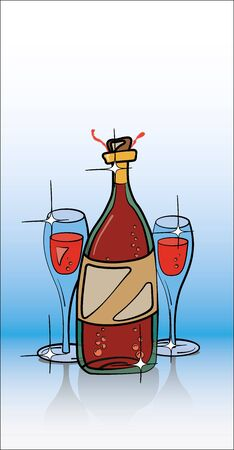 Bottle of Champagne and Two Glasses Stock Vector - 15295709