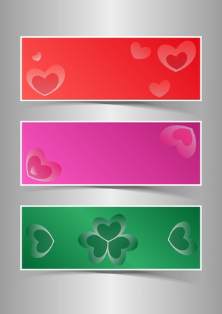 Valentine s Day Hearts Background Banners Stock Vector - 17099161