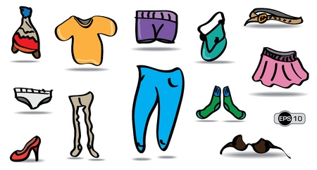 Cartoon and Colorful Clothes Set Stock Vector - 17569837