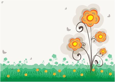 Colorful Flower On Green Meadow With Copy Space
