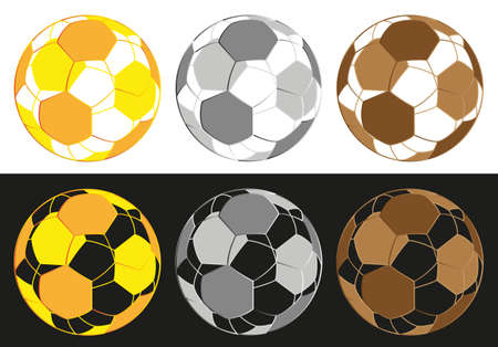 Dimensional Football Gold,Silver And Brown Medals Vector