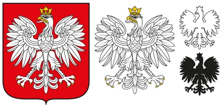 Poland Emblem - White Eagle,Shield And Silhouette Vector