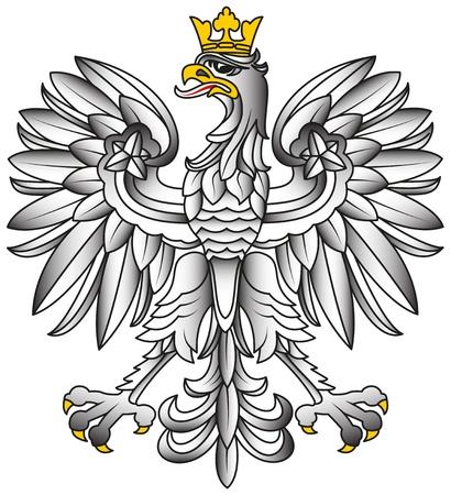 Poland Emblem - White Eagle With Shadows