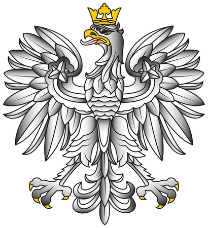 Poland Emblem - White Eagle With Shadows