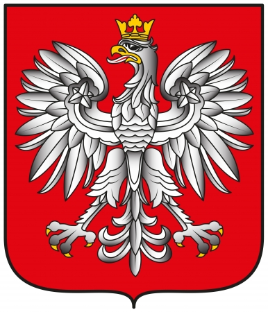 Poland Emblem - White Eagle With Shadows on Shield Illustration