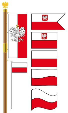Set of Poland Flags With Flagstaff