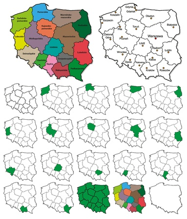Poland Province Borders - Layers ON or OFF Ilustracja
