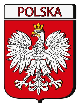 crown tail: Dimensional Poland Emblem on Red Shield Illustration