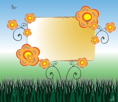 Colorful Flower Billboard With Natural Background Illustration