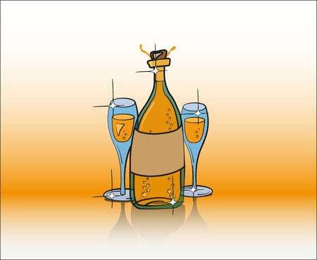 Bottle of Champagne and Two Glasses in Gold Color Stock Vector - 17880977