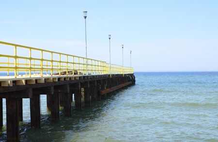 Pier at Baltic Sea During Summer Stock Photo