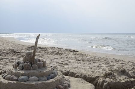 Sand and Rock Castle on Baltic Beach Stock Photo