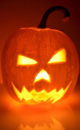 Halloween Pumpkin Head Glowing From Inside in The Dark