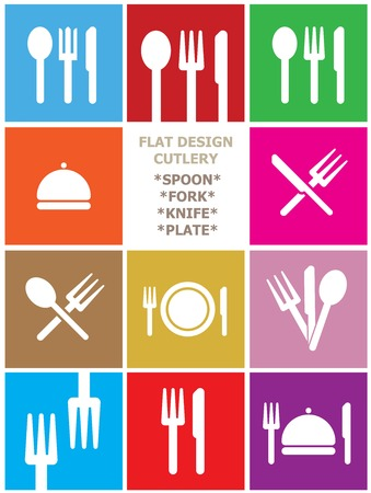 CUTLERY, FORK, SPOON, KNIFE SQUARE ICONS IN FLAT DESIGN Vector