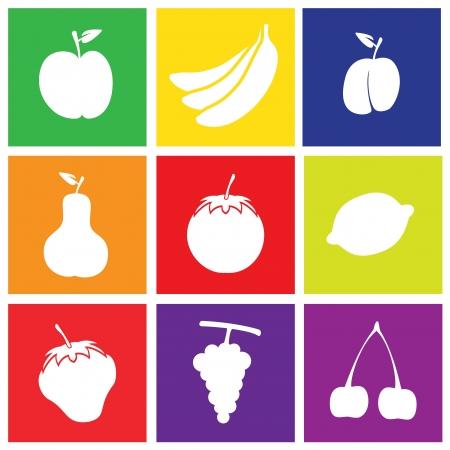 Set of Flat Design Fruits Square Icons Like Apple, Banana, Grape, Lemon, Plum, Pear, Tomato, Strawberry, Cherry.