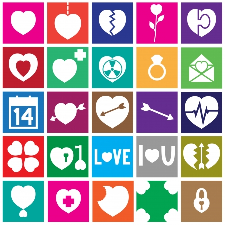 Valentine Square Icons With Heart Symbol in Flat Design