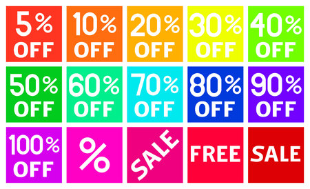 Percentage Discount Square Icons in Flat Design Vector