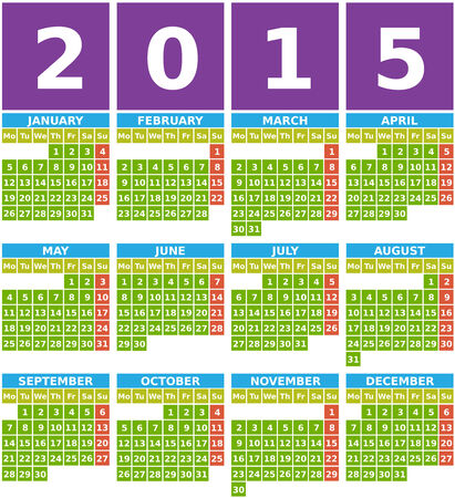 Big 2015 calendar with months from january to december in flat design using simple square icons with green background.