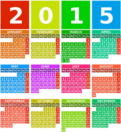 Rainbow 2015 calendar with months from january to december in flat design using simple square icons with colorful background. Illustration