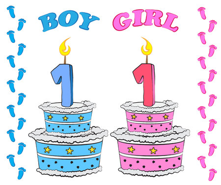 first floor: Sweet cake for first birthday, for boy and girl in pink and blue colour, Illustration