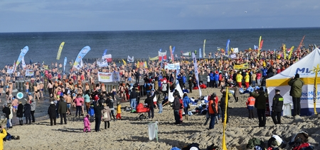Hundreds of people participated in attempt to beat Guinness World Record, in Polar Bear Plunge, in Mielno City, in Poland